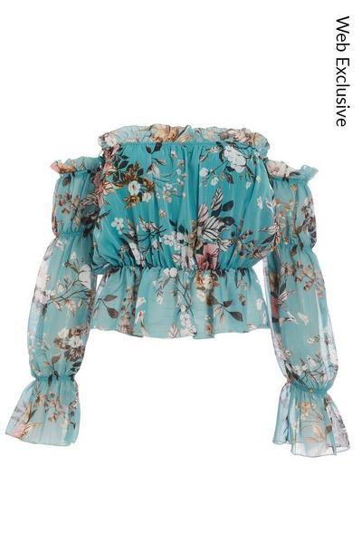 Mint Floral Chiffon Bardot Top